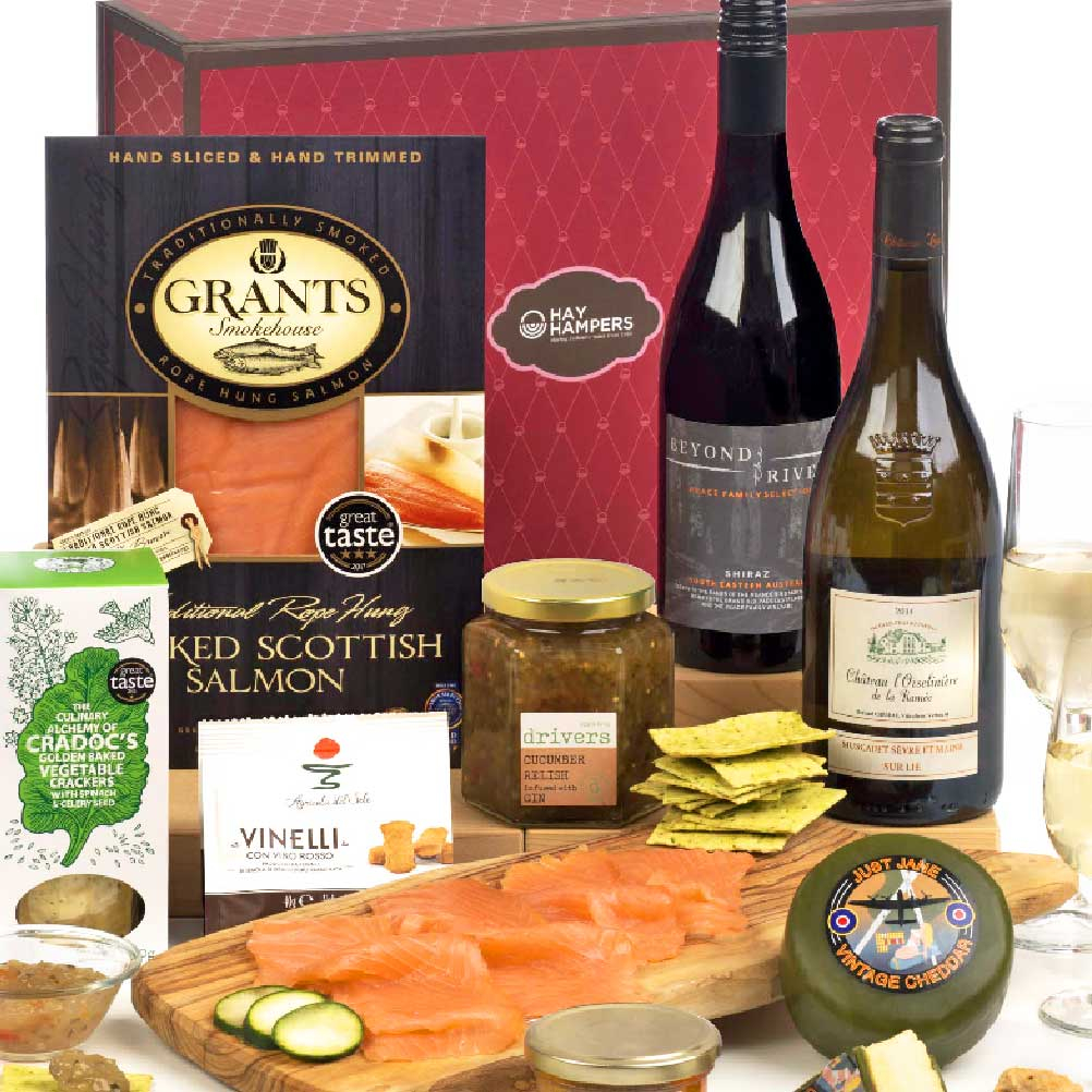 Gourmet Luxury smoked fish two bottle of wine gift hamper