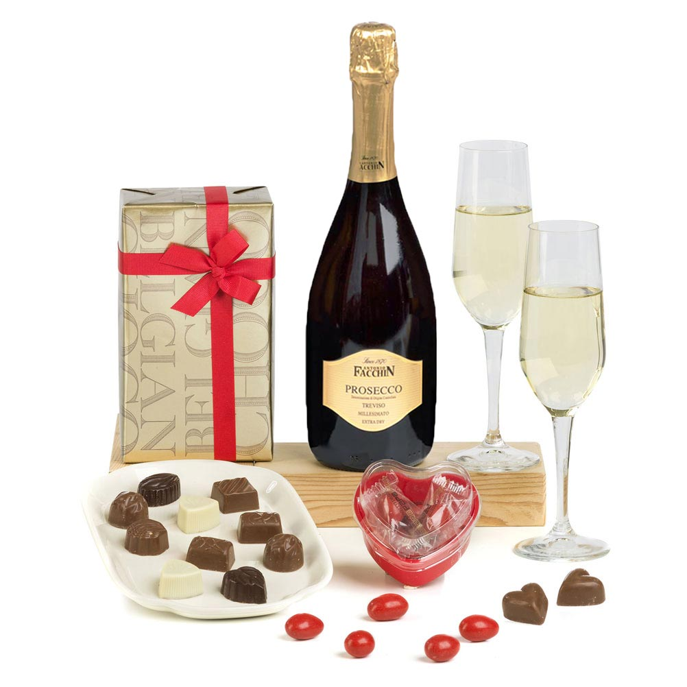 Luxury Valentines Prosecco & Belgian Chocolates for her - free delivery special offer 2020