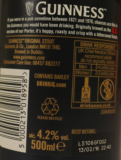 Guinness Ingredients and allergens